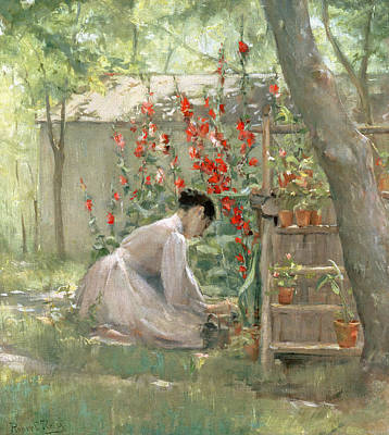 Planting Flowers Painting - Tending The Garden by Robert Reid