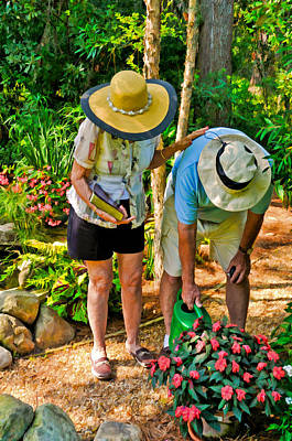 Photograph - Loving Couple Tending Their Garden by Ginger Wakem