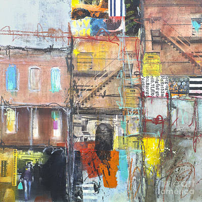 Crayons Mixed Media - Tenement Dreams by Elena Nosyreva