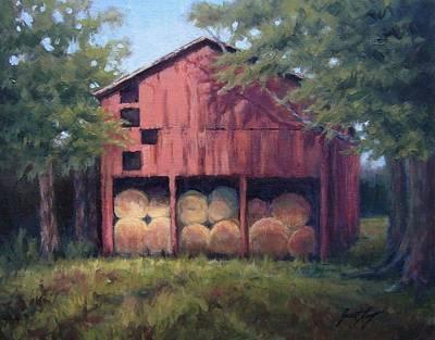 Preston Farm Painting - Tennessee Barn With Hay Bales by Janet King