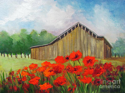 Tennessee Barn With Red Poppies Art Print