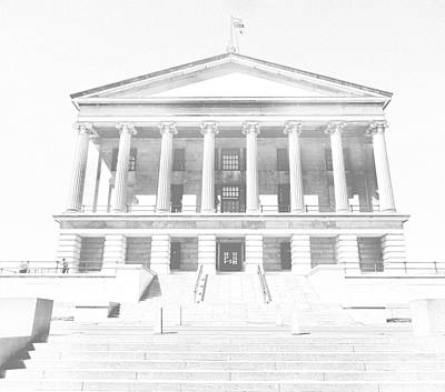 Downtown Nashville Drawing - Tennessee Capitol Building Sketch by Dan Sproul