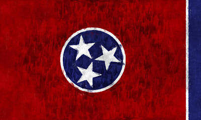 The South Digital Art - Tennessee Flag by World Art Prints And Designs