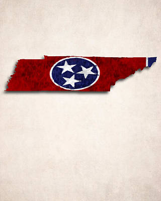 Emblem Digital Art - Tennessee Map Art With Flag Design by World Art Prints And Designs
