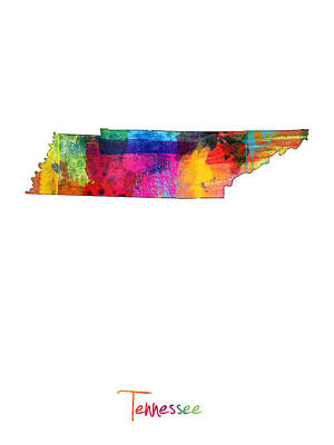 Tennessee Digital Art - Tennessee Map by Michael Tompsett