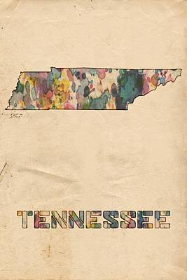 Watercolor Map Painting - Tennessee Map Vintage Watercolor by Florian Rodarte