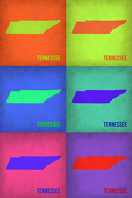 Tennessee Painting - Tennessee Pop Art Map 1 by Naxart Studio