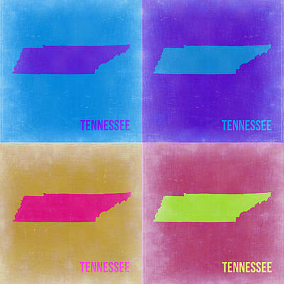 Tennessee Painting - Tennessee Pop Art Map 2 by Naxart Studio