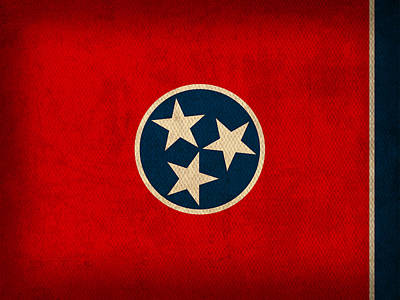 Nashville Mixed Media - Tennessee State Flag Art On Worn Canvas by Design Turnpike