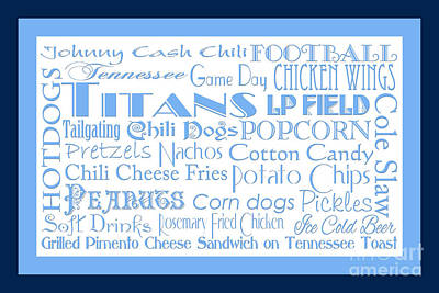 Food Digital Art - Tennessee Titans Game Day Food 2 by Andee Design