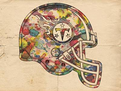 Ball Painting - Tennessee Titans Helmet Poster by Florian Rodarte