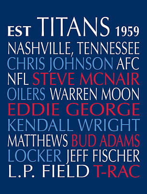 Digital Art - Tennessee Titans by Jaime Friedman