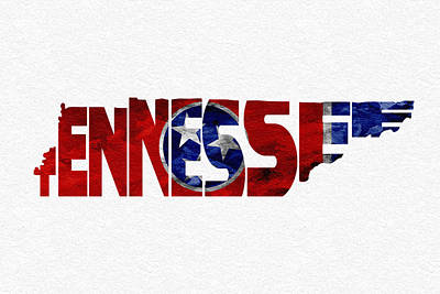 Digital Art - Tennessee Typographic Map Flag by Ayse Deniz