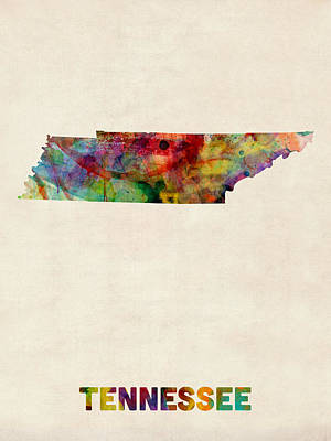 Cartography Digital Art - Tennessee Watercolor Map by Michael Tompsett