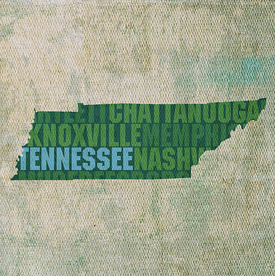 Wall Art - Mixed Media - Tennessee Word Art State Map On Canvas by Design Turnpike
