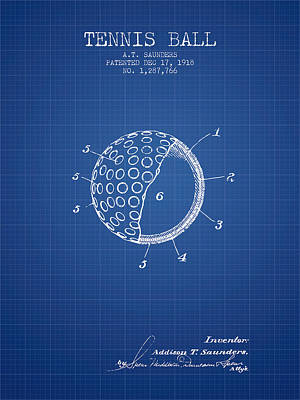 Player Digital Art - Tennis Ball Patent From 1918 - Blueprint by Aged Pixel
