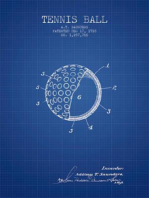 Tennis Ball Patent From 1918 - Blueprint Art Print