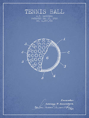 Player Digital Art - Tennis Ball Patent From 1918 - Light Blue by Aged Pixel