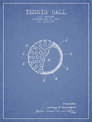 Tennis Ball Patent From 1918 - Light Blue Art Print