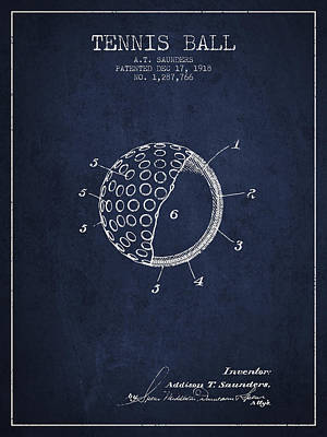 Sports Royalty-Free and Rights-Managed Images - Tennis Ball Patent from 1918 - Navy Blue by Aged Pixel