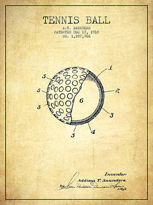 Player Digital Art - Tennis Ball Patent From 1918 - Vintage by Aged Pixel