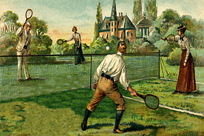 Tennis Doubles Match 1800's Victorian Estate Art Print by Private Collection