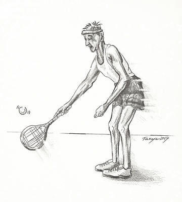 Tennis Ball Drawing - Tennis Gent by Tanya Provines