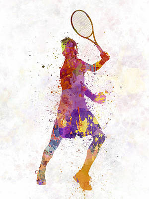 Tennis Players Painting - Tennis Player Celebrating In Silhouette 01 by Pablo Romero