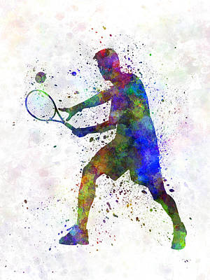Tennis Players Painting - Tennis Player In Silhouette 01 by Pablo Romero