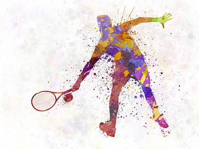 Tennis Players Painting - Tennis Player In Silhouette 02 by Pablo Romero