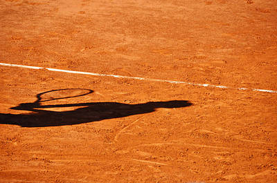 Tennis Player Shadow On A Clay Tennis Court Art Print