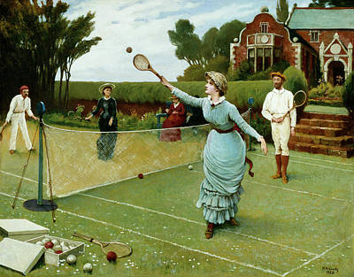 Victorian Era Wall Art - Painting - Tennis Players, 1885 by Horace Henry Cauty