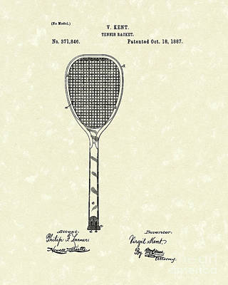 Drawing - Tennis Racket 1887 Patent Art by Prior Art Design