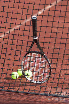 Photograph - Tennis Racket And Balls Against A Net. by Don Landwehrle