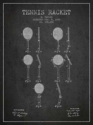 Sports Royalty-Free and Rights-Managed Images - Tennis Racket Patent from 1886 - Charcoal by Aged Pixel