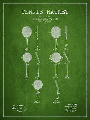 Thomas Kinkade Royalty Free Images - Tennis Racket Patent from 1886 - Green Royalty-Free Image by Aged Pixel