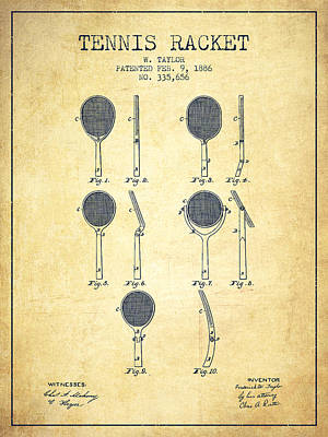 Tennis Racket Patent From 1886 - Vintage Art Print