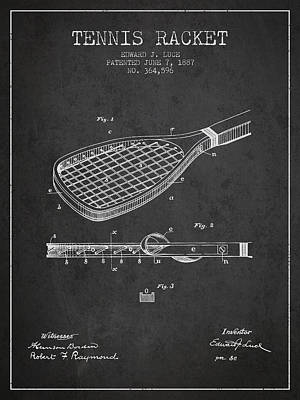 Player Digital Art - Tennis Racket Patent From 1887 - Charcoal by Aged Pixel