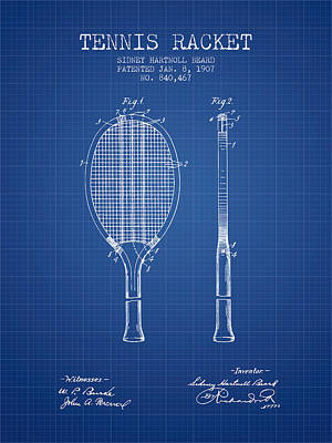 Sports Royalty-Free and Rights-Managed Images - Tennis Racket Patent from 1907 - Blueprint by Aged Pixel