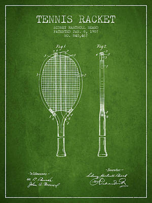 Recently Sold - Sports Royalty-Free and Rights-Managed Images - Tennis Racket Patent from 1907 - Green by Aged Pixel