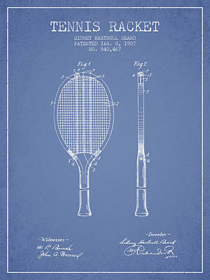 Sports Royalty-Free and Rights-Managed Images - Tennis Racket Patent from 1907 - Light Blue by Aged Pixel