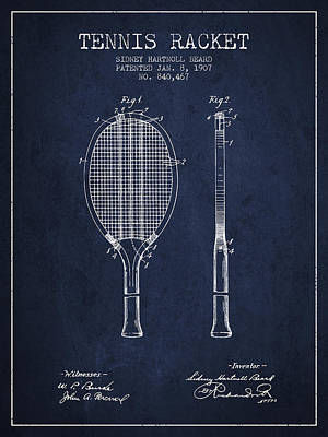 Technical Digital Art - Tennis Racket Patent From 1907 - Navy Blue by Aged Pixel
