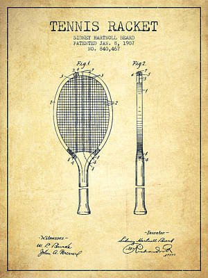 Sports Royalty-Free and Rights-Managed Images - Tennis Racket Patent from 1907 - Vintage by Aged Pixel