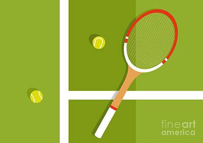 Tennis Wall Art - Digital Art - Tennis Racquet And Balls Are On The by Ilya Glukhov