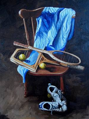 Tennis Still Life Original by Logan Cobb