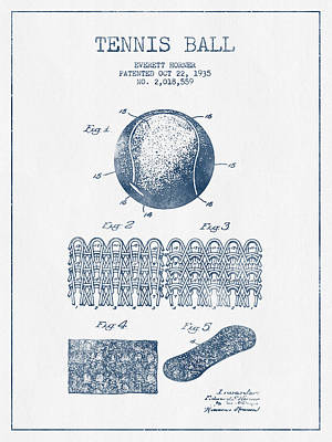 Sports Royalty-Free and Rights-Managed Images - Tennnis Ball Patent Drawing from 1935  -  Blue Ink by Aged Pixel