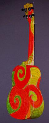 Painted Ukulele Sculpture - Tenor Pono Ukulele by Jean Groberg