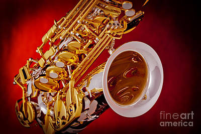 Photograph - Tenor Saxophone Red Color Photograph 3358.02 by M K  Miller