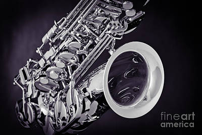 Photograph - Tenor Saxophone Sepia Tone Photograph 3358.01 by M K Miller