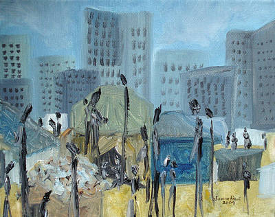 Famine Painting - Tent City Homeless by Judith Rhue